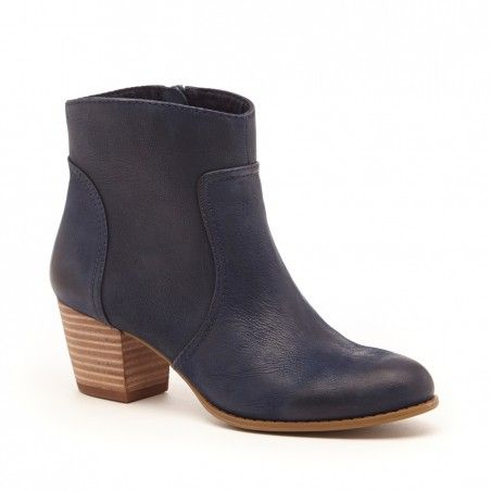 Women's Washed Navy Leather 2 1/8 Inch Stacked Heel Ankle Bootie | Romy by