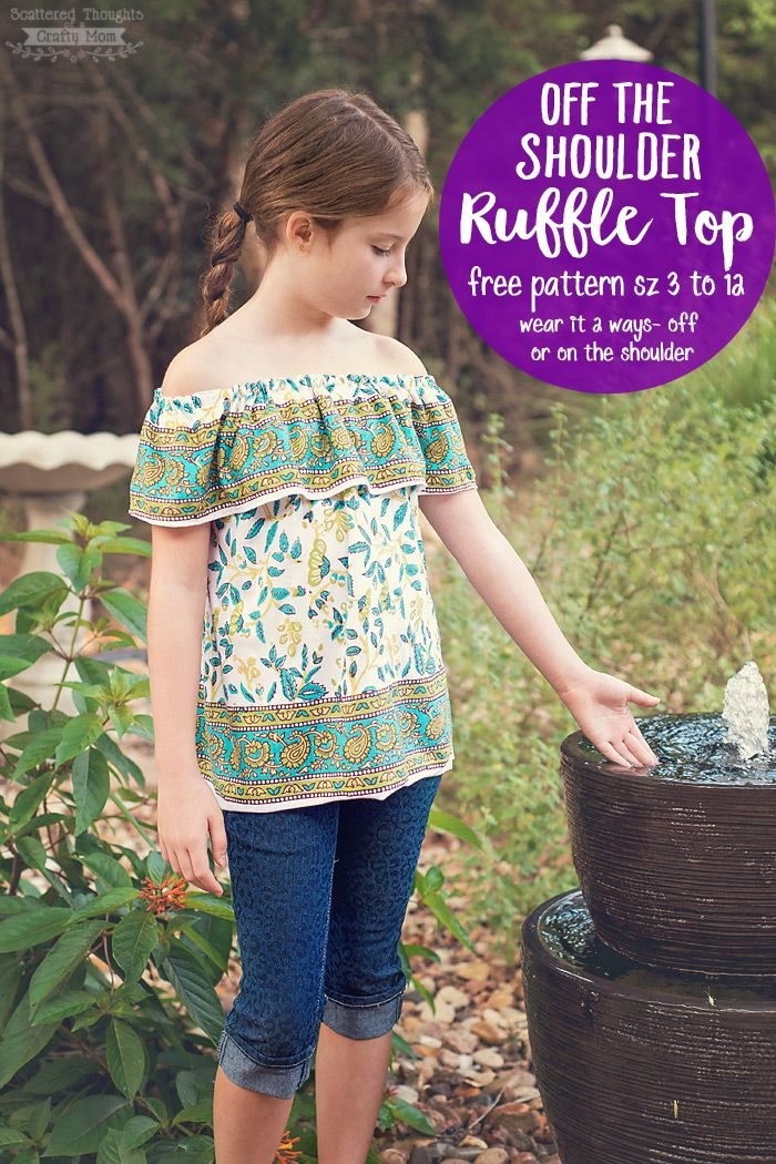 This Off-Shoulder Ruffle Top, is a free printable sewing pattern in sizes 3 to…
