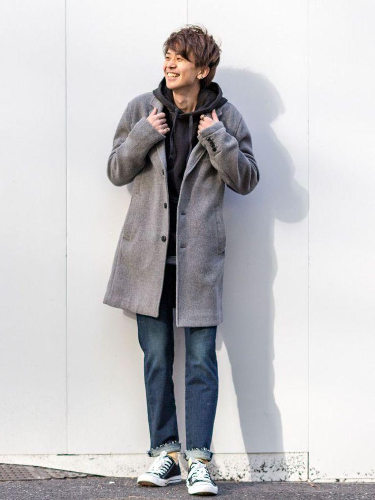 【渋谷店スタッフ注目コーデ】 パーカー+デニムの定番スタイルもトレンドのチェスターコートを羽織るだけで今年っぽい着こなしに。チェスターコートはグレーをセレクトするのがポイント。 チェスターコート (Color:グレー/¥22,900/ID:353500/着用サイズ:M) プルオーバーパーカー (Color:ブラック/¥7,900/ID:465558/着用サイズ:L) Tシャツ (Color:ネイビー/¥5,900/ID...