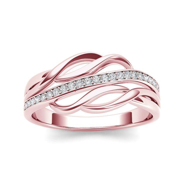 0.11 Carat T.D.W Diamond Twist-Shank Fashion Knuckle / Mini Ring in 10k Rose Gold