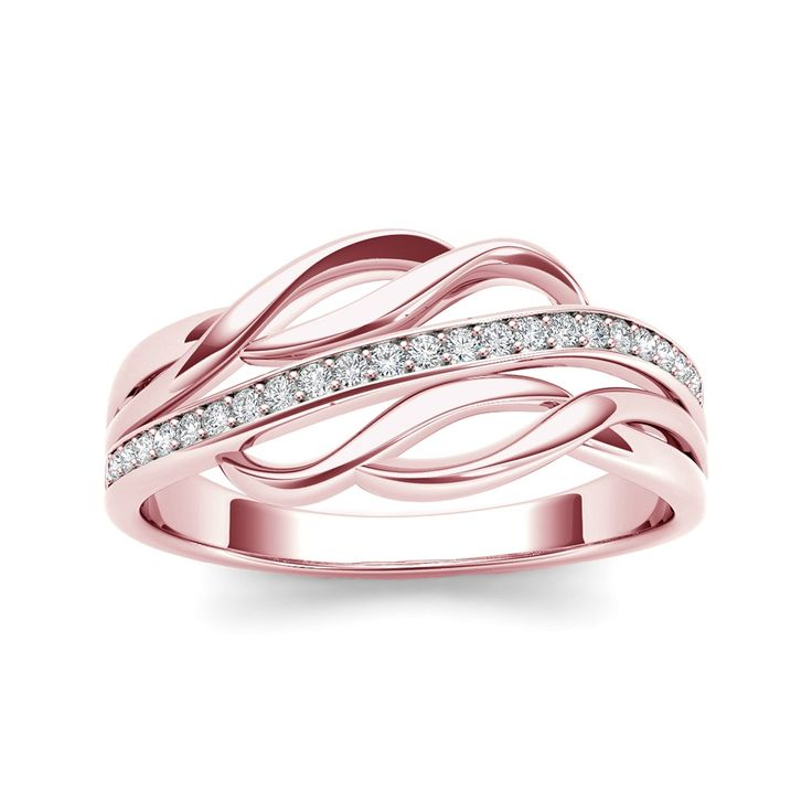 0.11 Carat T.D.W Diamond Twist-Shank Fashion Knuckle / Mini Ring in 10k Rose Gold