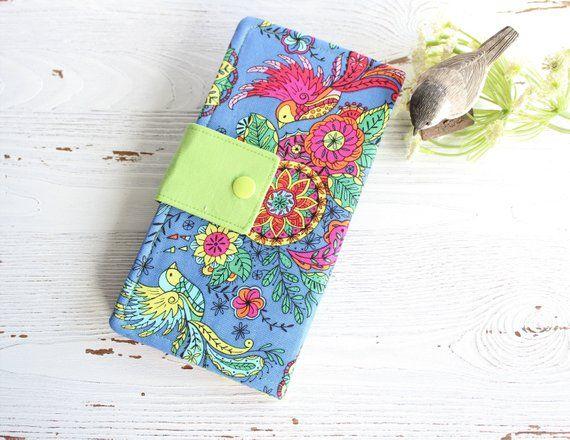Birds in bright  Womens fabric bifold wallet, slim clutch handmade wallet, checkbook wallet, gift id