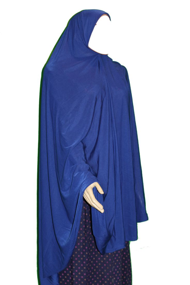 The khimar is great for salah and is a hassle free garment for the night prayers during ramadan or Friday prayer because it provides great chest, arms and back coverage.  This is a one piece extra large khimar. The front part may go down the knee depending on your height, the back is much longer than the front and may go down the calves depending on your height.