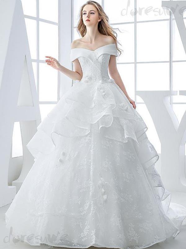 2016新作Vネックオフショルダーの高級ウェディングドレス 花嫁ドレス 11631118 - 新作ウェディングドレス - Doresuwe.Com