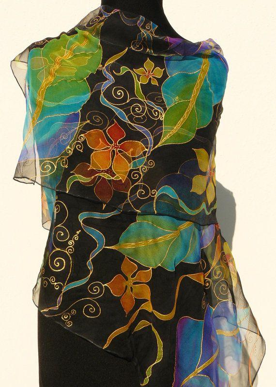 Bright flowers  black silk scarf Hand Painted Chiffon by Irisit