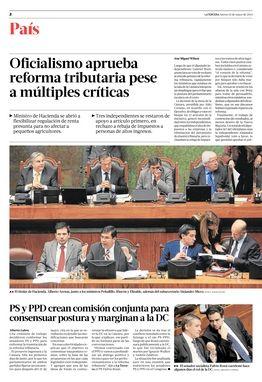 15.05.14: Oficialismo aprueba reforma tributaria pese a múltiples críticas | País | La Tercera Edición Impresa