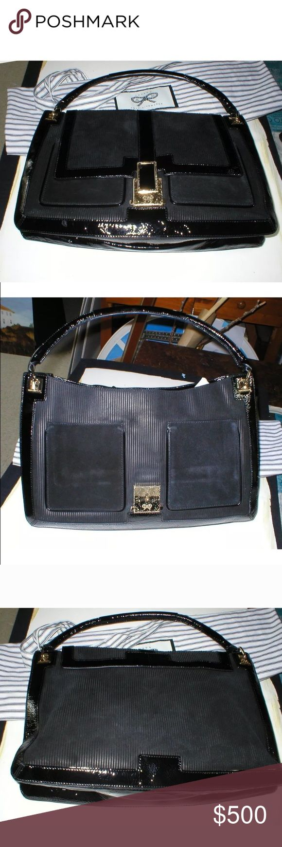 New Anya Hindmarch suede handbag Gorgeous Anya Hindmarch handbag, real suede and patent leather, comes with dust bag, never used, purchased in London Anya Hindmarch Bags Shoulder Bags
