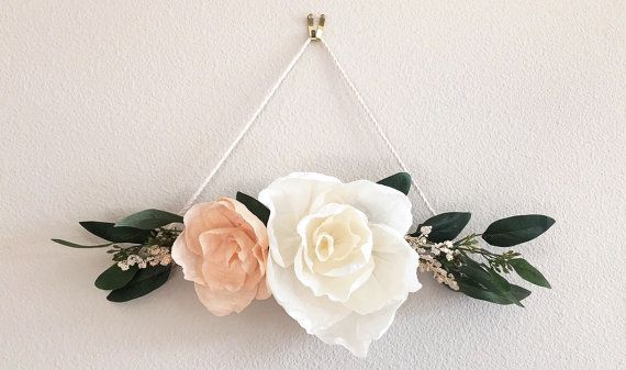 "Floral Wall Hanging // Crepe Paper Flower Wall Decor // Wall Art // Nursery Decor // Home Decor // Wedding Decor  // ""Elegant Blooms"""