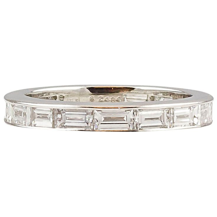 HARRY WINSTON Platinum 3.24 cts Baguette Diamond Band Ring | From a unique collection of vintage band rings at http://www.1stdibs.com/jewelry/rings/band-rings/