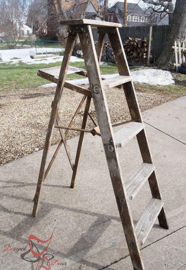 Repurposed Ladder Shelf Ladder Shelf Diy Leaning Ladder Shelf Old Wood Ladder