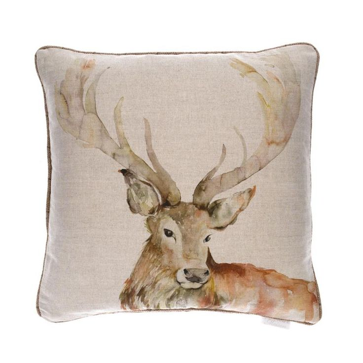 Voyage Maison Gregor Stag Cushion. Available at www.thegreatbritishhome.com #voyagemaison #thegreatbritishhome #cushion #homedecor #madeinbritain #stag #stagcushion #countrystyle