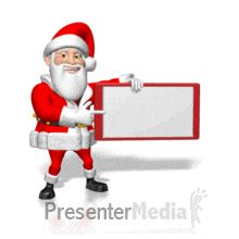ID# 4242 - Santa Pointing at Small Blank Sign - PowerPoint Animation