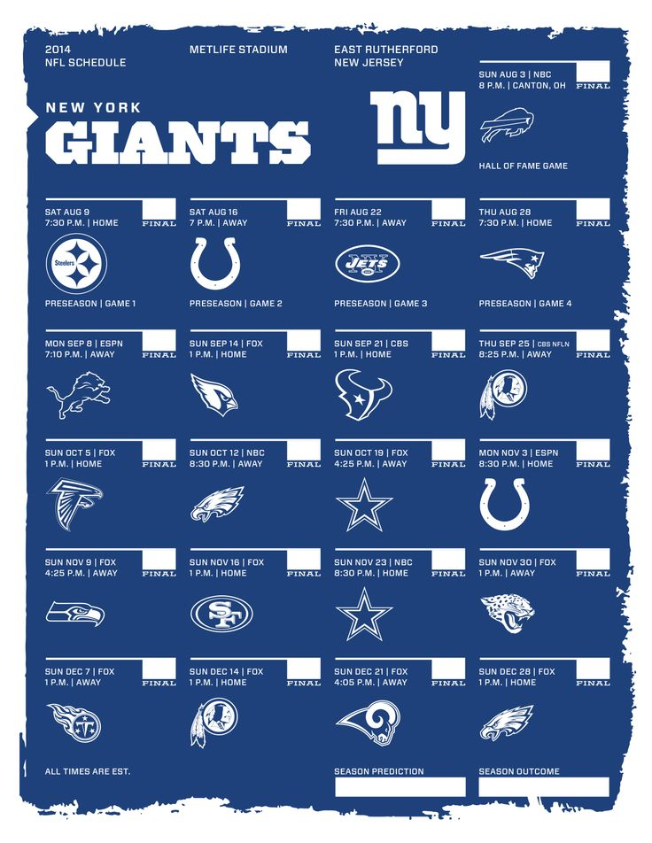 image about Ny Giants Printable Schedule called Fresh new York Giants 2014 NFL Routine 2014 NFL Schedules Contemporary