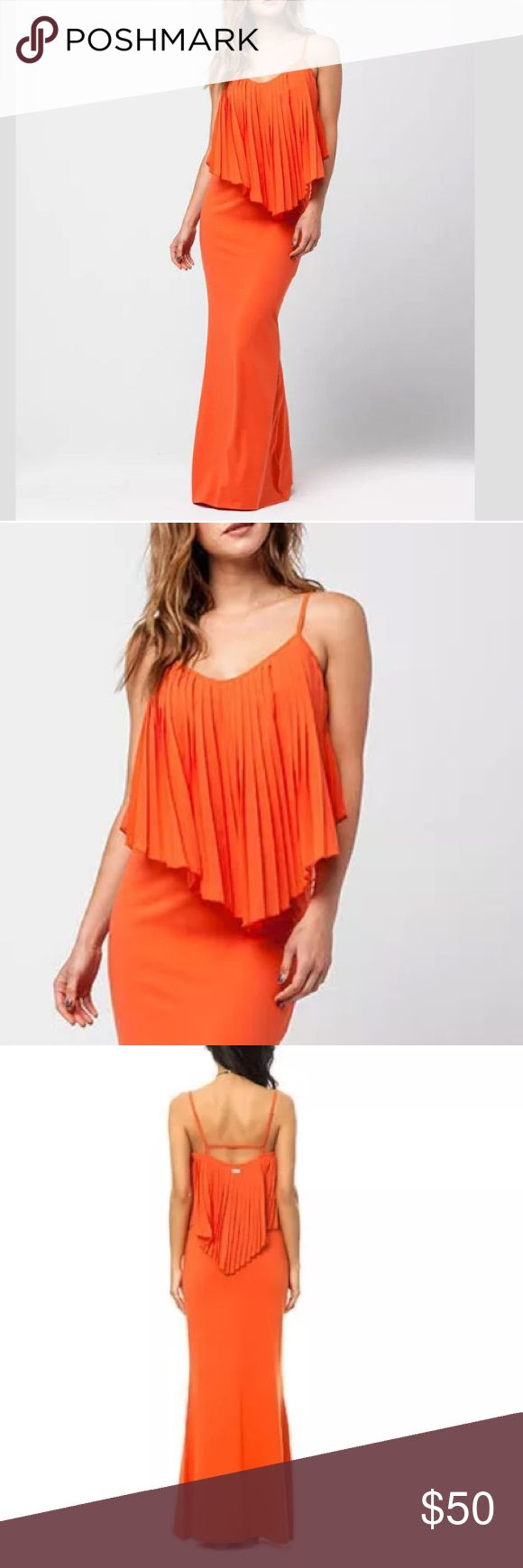 "RVCA  ""Chaac"" Maxi Orange Body-Con Strap Dress Size: Small - Brand New with Original Tags - Retail: $66.00   Adjustable Straps - Pleated Chiffon Bodice Overlay on Chest - Tighter Fit Max Dress   Approx 55"" Length - Body- Con Fit - 97% Cotton, 3% Spandex - Does have some Stretch   Orange Sherbet Color -  Great Summer Maxi or Dressed Up for a Summer Wedding  - No Trades RVCA Dresses Maxi"