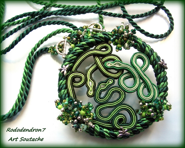Soutache statement fantasy art pendant necklace - bold, avant garde and unusual - SNAKE'S MAGIC CiRCLE OOAK., via Etsy.
