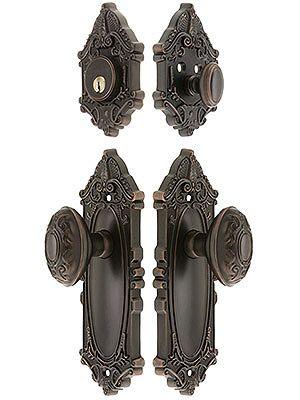 "Antique Door Hardware. Grandeur ""Grande Victorian"" Entrance Door Set With Decorative Oval Knobs"