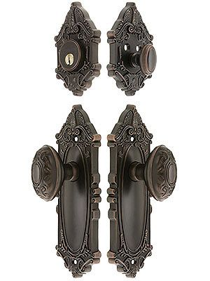 "Antique Door Hardware. Grandeur ""Grande Victorian"" Entrance Door Set With Decorative Oval Knobs"