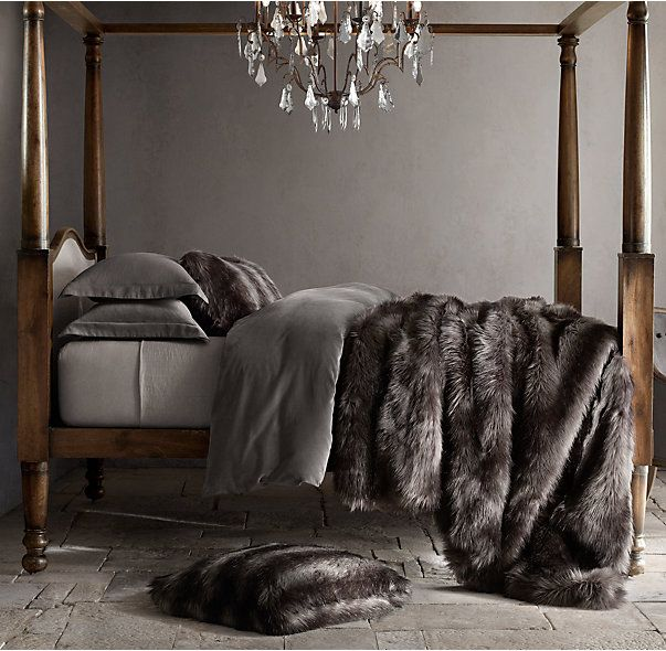 RH's Exotic Faux Fur Oversized Bed Throw - Siberian Grey Fox:Our Exotic Faux Fur blanket captures the wild beauty of genuine fur with its lush, long-hair finish. Expert weaving and coloring techniques re-create the subtly variegated tones and tipped ends characteristic of natural pelts, complemented by a thick, luxuriously deep pile.