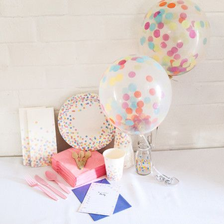 Confetti party package. Great value delivered to your door! http://www.qualitytimepartysupplies.com.au/shop/girl-party-packages/confetti-party-package/