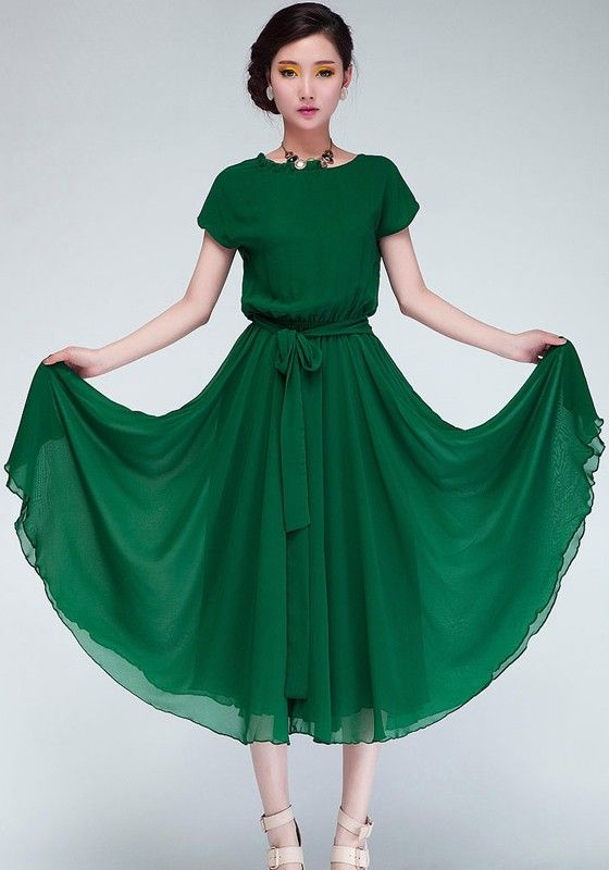 Green Plain Short Sleeve Wrap Chiffon Maxi Dress - Maxi Dresses - Dresses (FYI - this dress is made in China so expect to go up two sizes)