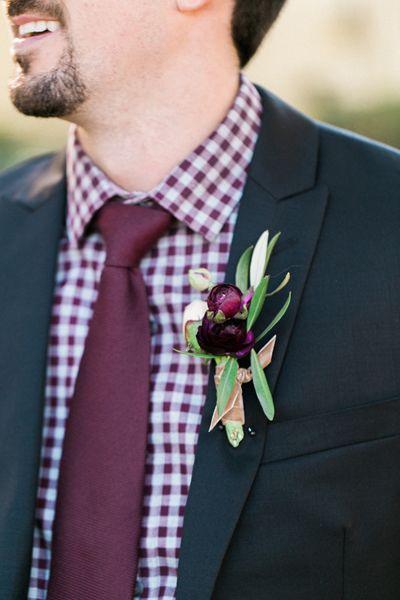 burgundy gingham grooms look | Morning Light by Michelle Landreau