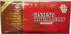 "Global Ginseng Royal Jelly - 10ml X 30 Bottles - Value Pack by GBL. $8.99. Chinese Ginseng with Royal Jelly is made by 15 years old red ginseng and and royal jelly in honey base. Magic Drop's Ginseng royal jelly is with extract strength. In many cultures, ginseng has long been valued as a precious gift of the nature for its treasured constituents.  Traditional Chinese medicine considers Ginseng the king of herbs and uses it for general debility, fatigue, for ""pacifying th..."
