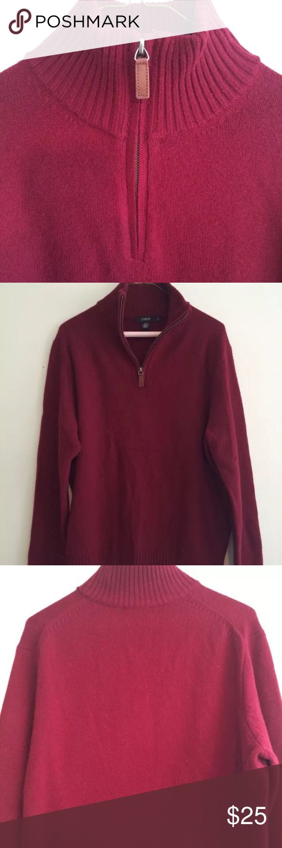 J Crew Men's Half Zip Sweater Mockneck half zip sweater with a leather pull. Deep red/burgundy color. Long sleeves with ribbing at wrists and along bottom. 100% lambs wool. All zippers work. Preloved and in good condition. J. Crew Sweaters Zip Up