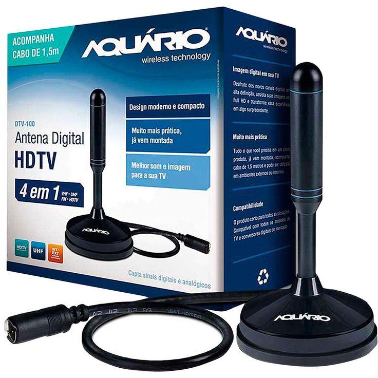 Antena Digital para TV DTV-100 VHF UHF F... - Americanas.com