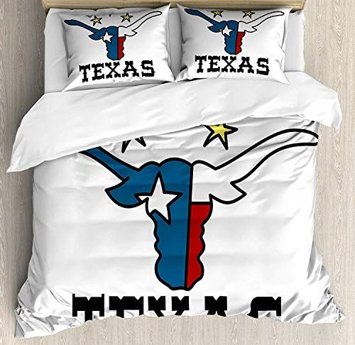 Chasoea Texas Star Full Size Duvet Cover Set Doodle Style Buffalo Head With Horns Texas Flag Queen Size Duvet Covers Luxury Bedspreads King Size Duvet Covers