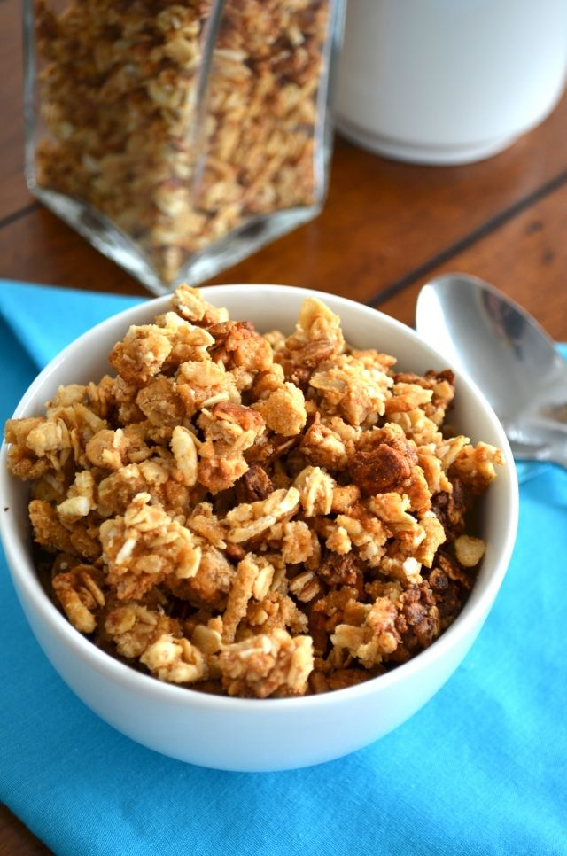healthy peanut butter honey granola, high protein and low calories (Note:  I will make this without the agave nectar, I will use honey or maple syrup in its' place.)