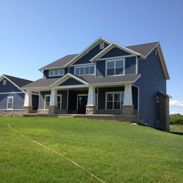 Love The Dark Slate Siding With The Gray Stone And White Beams My All Time Favorite House Home