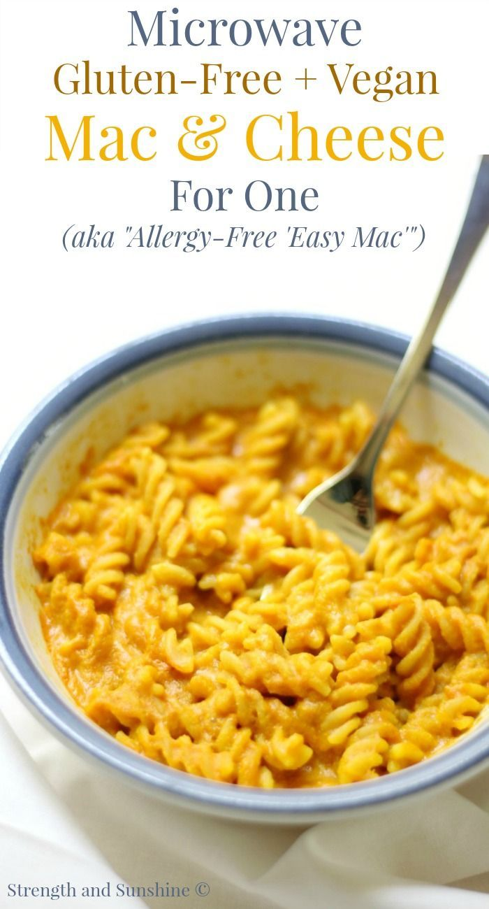 Microwave Gluten-Free + Vegan Mac & Cheese For One (Allergy-Free 'Easy Mac') | Strength and Sunshine @RebeccaGF666 Missing out on that 'Easy Mac'? Not anymore! This microwave gluten-free, vegan, and top 8 allergy-free mac & cheese for one is just the recipe you need! Nothing beats a quick and easy bowl of macaroni and cheese for lunch that's healthy and doesn't require pots and pans!