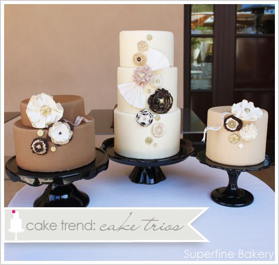 Mocha Cake Trio of Wedding Cakes