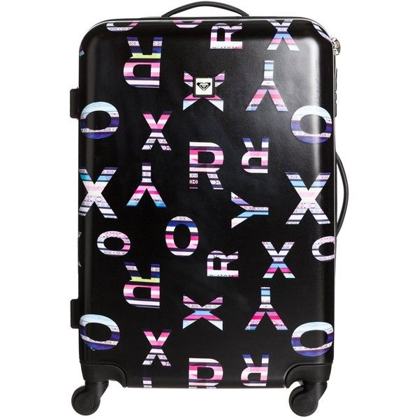 Roxy Hard Case Check In Luggage ($118) ❤ liked on Polyvore featuring bags, luggage, accessories and black