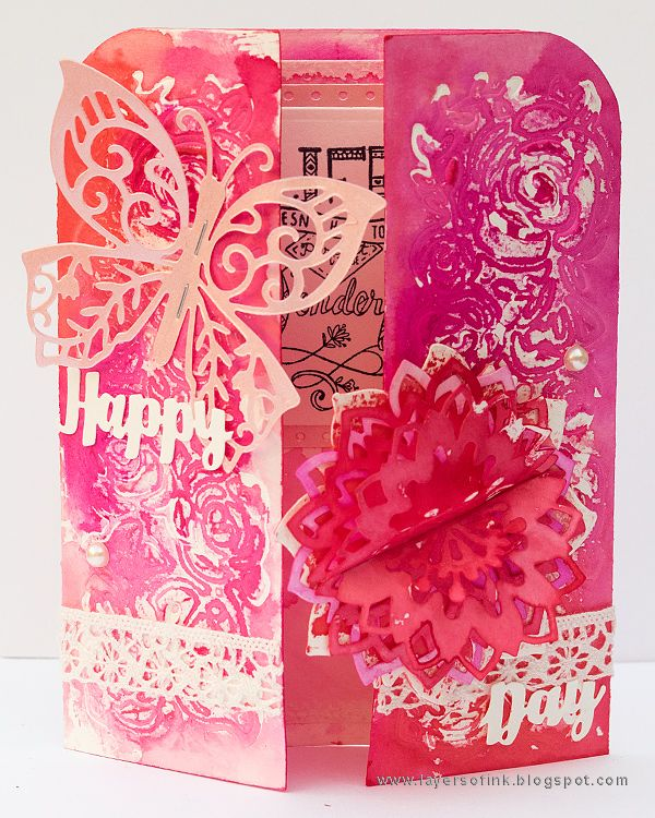 Layers of ink - Gatefolded Pink Card Tutorial by Anna-Karin. Made with Sizzix dies by Katelyn Lizardi and Ranger inks and Distress Micro Glaze.