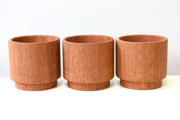 3 Vintage Eierbecher Teakholz dänischer Stil