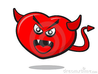 Illustration of angry heart with horn and tile like a devil