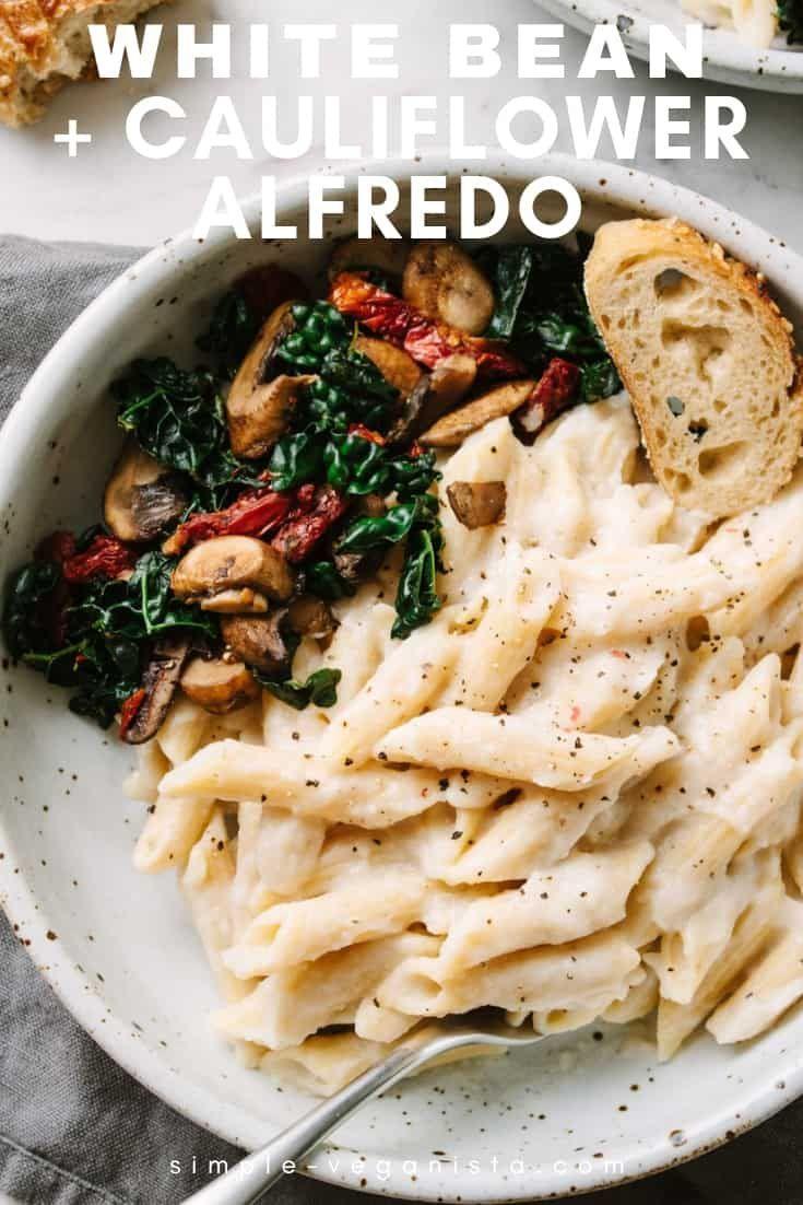 Creamy Vegan Alfredo Sauce Recipe Made With Cauliflower And High Protein White Beans Is So Easy To Make A Vegan Pasta Recipes Vegan Alfredo Vegan Alfredo Sauce