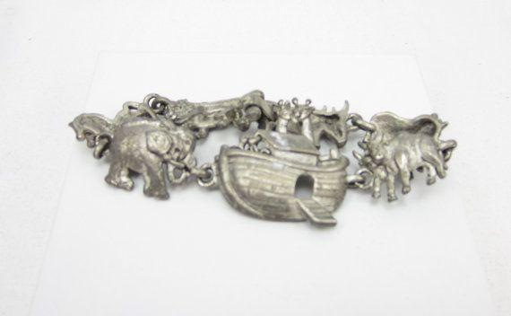 AJC Signed Pewter Noahs Arc Ark Bracelet by TreasureTrovebyTish