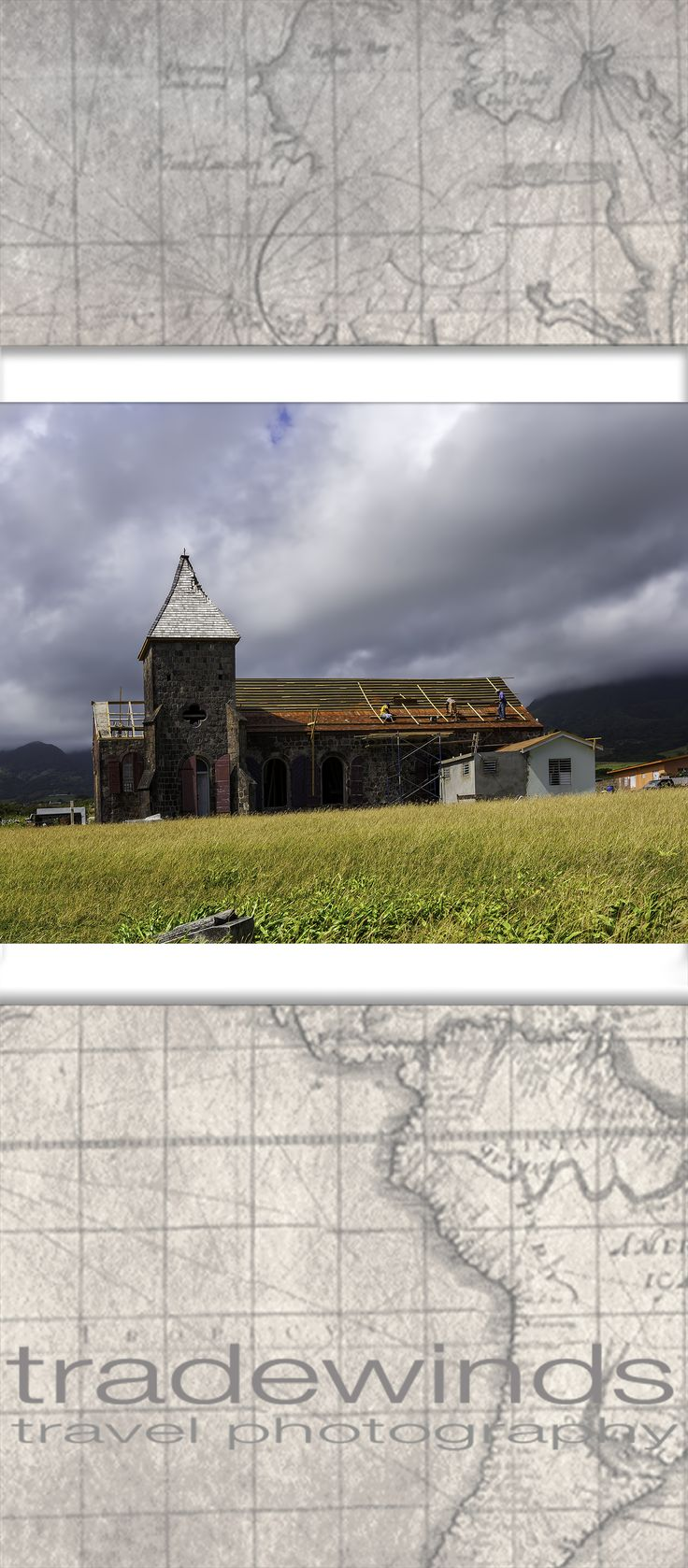 Workers repair damaged church roof on the Island of St Kitts