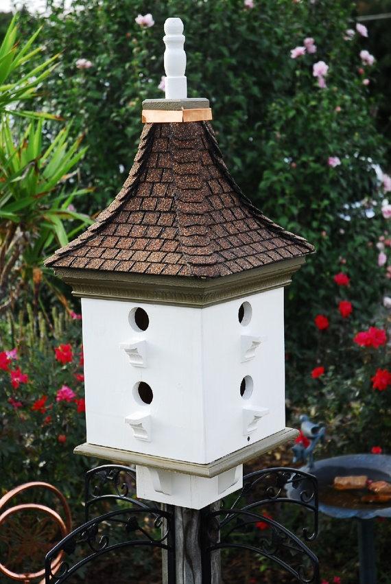 Bird House Handcrafted Wooden Painted Cream Moss