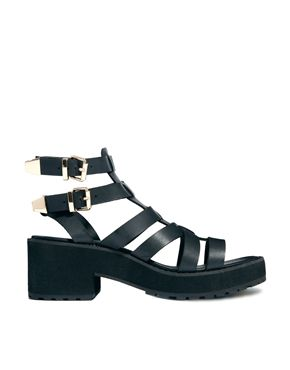 New Look Weighty Black Chunky Heeled Sandals | See more about Heeled Sandals, New Looks and Sandals.