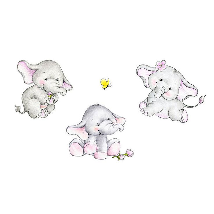 Baby Elephants Set Nursery Print, Children Wall Decor