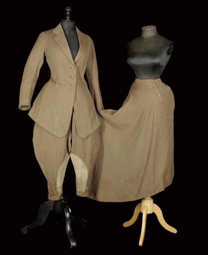 "Circa 1900-1915 Three-Piece Riding Habit: tailored jacket, wide jodhpurs, and apron skirt. Labeled: ""John Campion, Habit Maker and Ladies Tailor, 8 Clifford Street, W1"" and stamped ""Mrs. Milward.""  Sold at auction for $3,800."