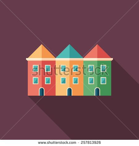 Colorful townhouses flat square icon with long shadows. #buildingicon #flaticons #vectoricons #flatdesign