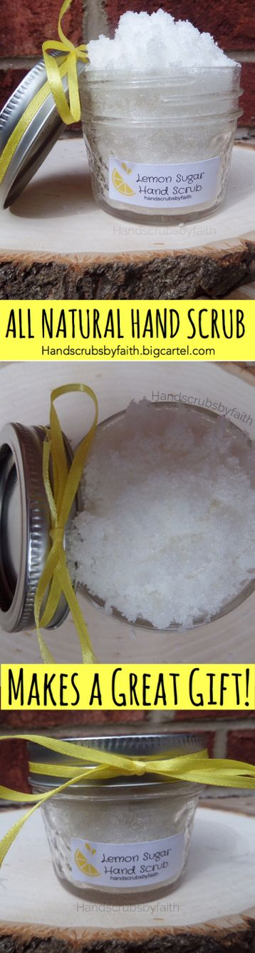 This Lemon Sugar Hand Scrub is easy to use and makes a perfect gift. It is all natural and gives you beautiful and silky smooth hands. It also has a delicious lemon aroma which makes it one of my most popular products. Discover more at handscrubsbyfaith.bigcartel.com ------------------------------------  hand scrub hand scrub diy hand scrub homemade hand scrub recipe hand scrub for men hand scrubs hand scrubs and essential oil  Hand scrub diy sugar Hand scrub Gardeners hand scrub