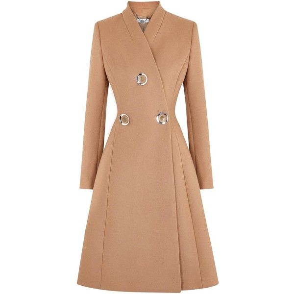 Stella McCartney Camel Flared Wool Coat (1.590 BRL) ❤ liked on Polyvore featuring outerwear, coats, jackets, coats & jackets, casacos, stella mccartney, stella mccartney coat, camel wool coat, button coat and stand collar coat