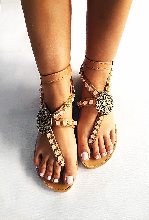 Handmade Leather Sandals  Amaryllis  Strappy