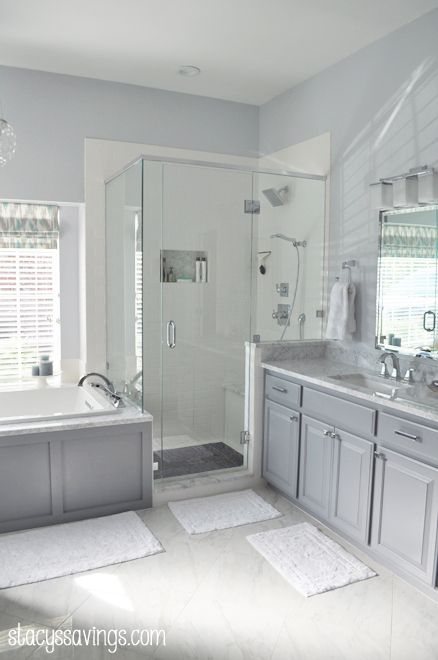 Master Bathroom Reveal! | Paint cabinets white, River rock