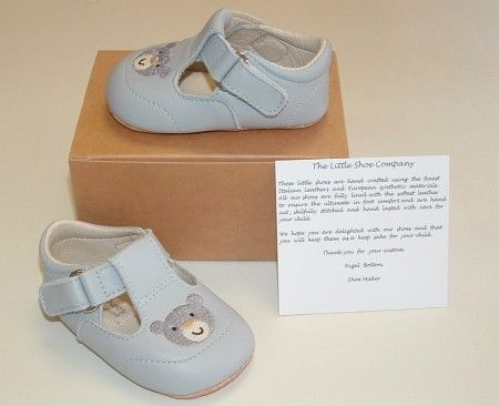Ickle Shooz Pale Blue Embroidered Teddy Pram Shoes - Handmade Baby Ickle Shooz - Little Wanderers